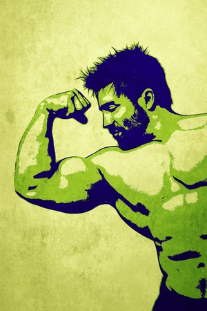 An illustration of a handsome young muscular sports man illustration