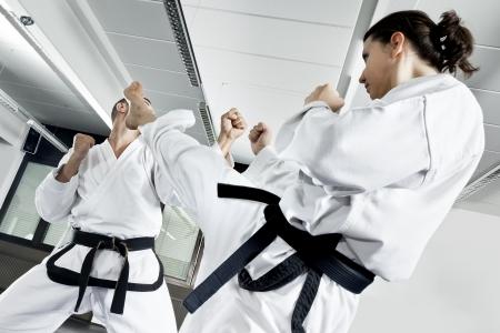 patada: Una imagen de dos maestro de la lucha de artes marciales