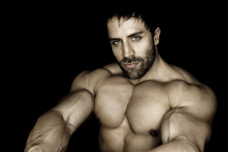 male torso: An image of a handsome young muscular sports man Stock Photo