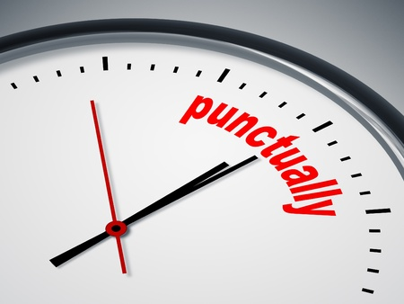 punctual: Una imagen de un bonito reloj con la palabra puntualmente Foto de archivo