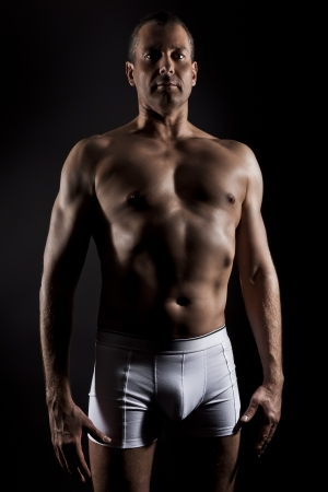 briefs: An image of a handsome middle aged muscular sports man