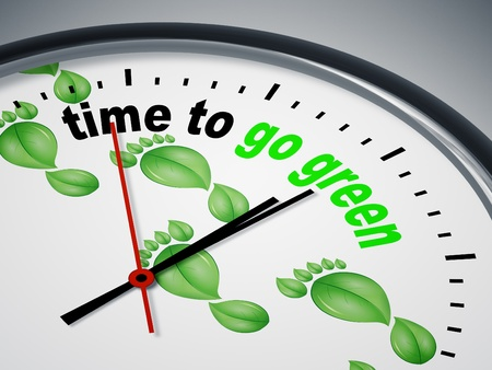An image of a nice clock with time to go green photo