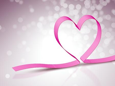 moño rosa: Una imagen de una cinta rosada del corazón