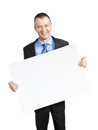 A handsome business man with a white shield Stock Photo - 11740563