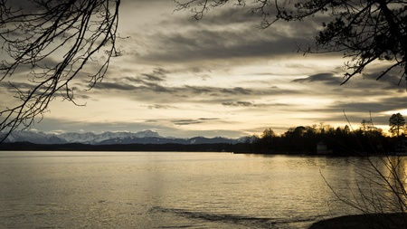 A sunset at the Starnberg Lake in Bavaria Germany - Tutzing photo