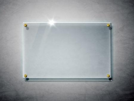 Una imagen de una placa de vidrio en la pared Foto de archivo