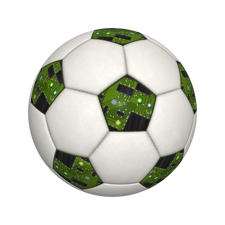 An image of an isolated soccer ball with circuit board photo
