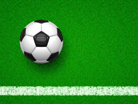 corner kick: An image of a soccer ball on green grass background Stock Photo