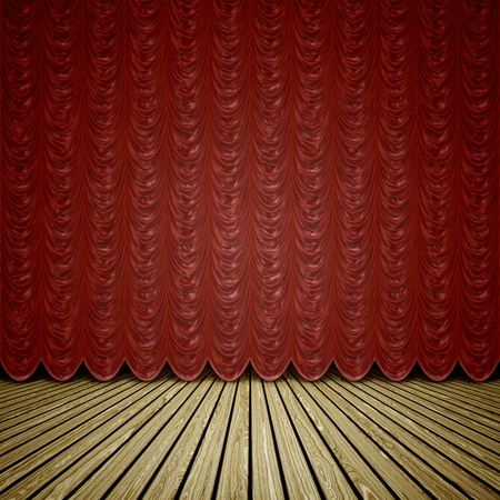 A wooden stage with a red curtain background photo
