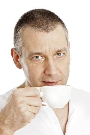 An image of a handsome middle age man with a coffee photo