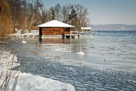 fishing huts: Winter scenery at Starnberg Lake in Germany