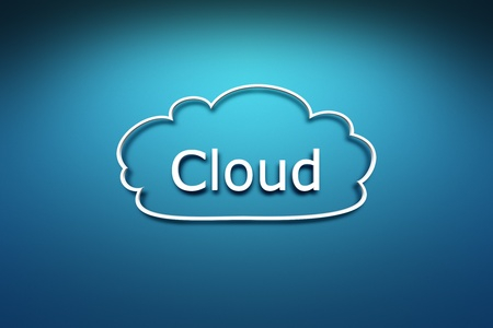 A cloud symbol on the blue wall background photo