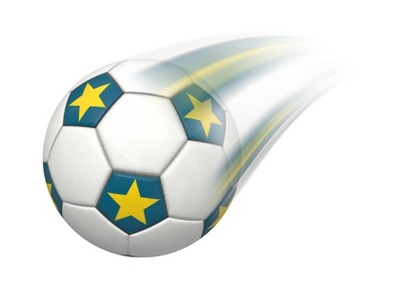 leather goods: An image of a flying soccer ball Stock Photo