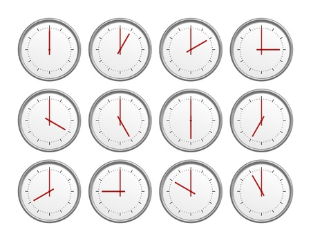 An image of 12 clocks with different time photo