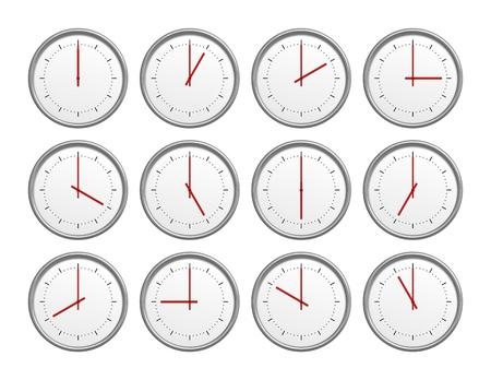 Une image de 12 horloges avec le temps différente Banque d'images