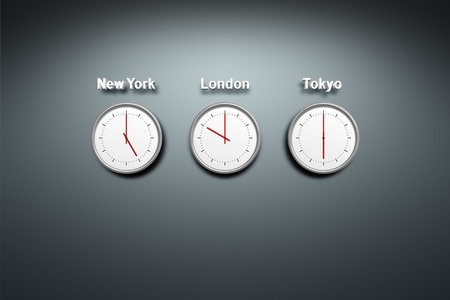 timezone: New York - London - Tokyo - time 3 clocks at the wall