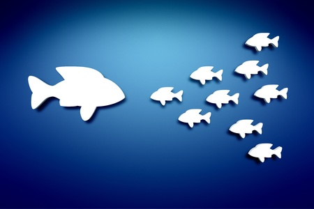 white fishes on the blue wall wall background Stock Photo - 12397712