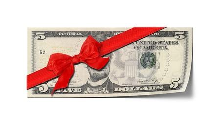 five dollars: An image of a five dollar voucher