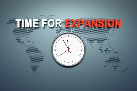 expansion: A wall with the words time for expansion