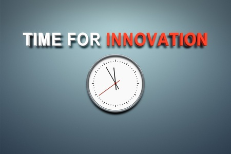 A wall with the words time for innovation Stock Photo