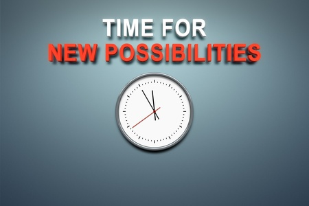 possibilities: A wall with the words time for new possibilities Stock Photo