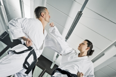 self defence: An image of two martial arts fighters Stock Photo