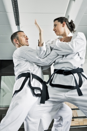 martial arts woman: An image of two martial arts fighters Stock Photo