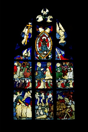 stained glass panel: An image of a gothic church window in Germany Ulm
