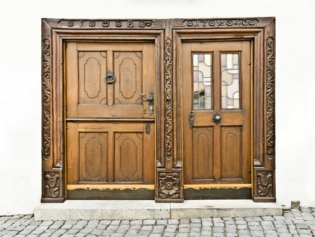 An image of wooden doors in Ulm Germany