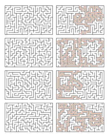 cut through the maze: An image of four mazes with solution