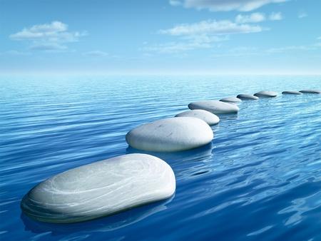 Een beeld van een aantal stap stenen in de blauwe zee Stockfoto