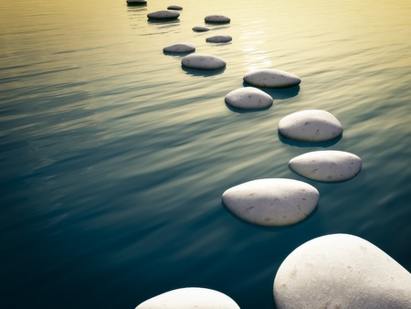 An image of some nice step stones in the evening sea photo