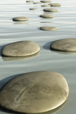 An image of some nice step stones in the sea photo