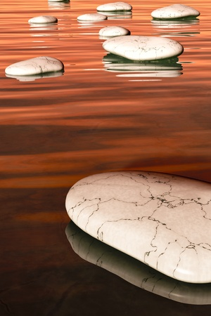 An image of some nice white step stones in the evening sea photo