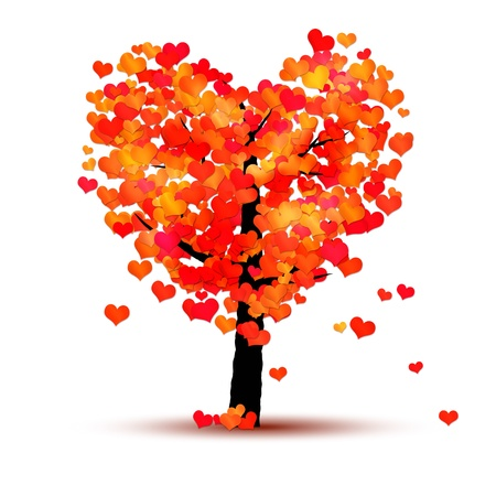 An image of a red tree with hearts as leaf photo