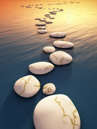 An image of some nice step stones in the evening sea Stock Photo - 13046209