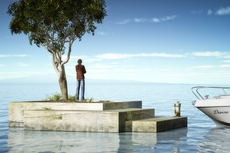 docks: An image of a man looking to the horizon
