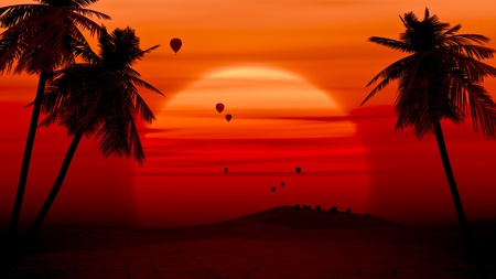 An image of some hot air balloon in the desert sunrise photo