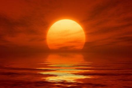 Een beeld van een mooie rode zonsondergang met een grote gele su