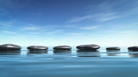 piedras zen: Una imagen de algunas piedras de buen paso en el mar azul