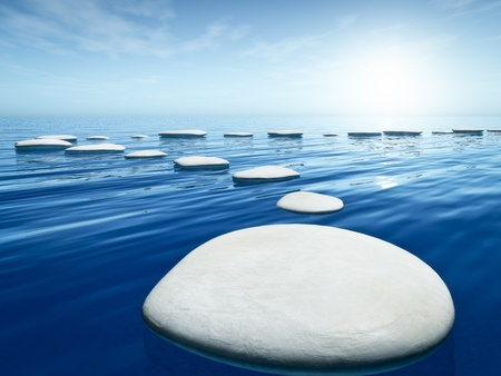 steps to success: An image of some nice step stones in the blue sea Stock Photo