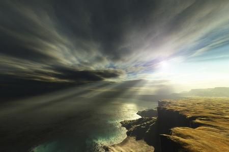 desolation: An image of a nice fantasy landscape Stock Photo