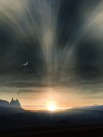 An image of a nice fantasy landscape sunset photo
