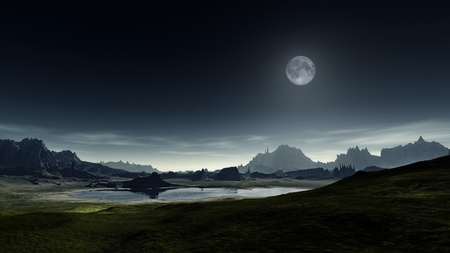 fantasy landscape: An image of a nice fantasy landscape Stock Photo