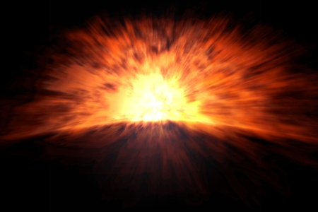 An image of a big and heavy explosion Stock Photo