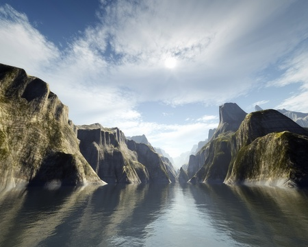 steep cliff: An image of a nice fantasy canyon