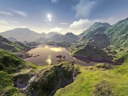 fantasy world: An image of a nice fantasy landscape Stock Photo
