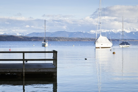 the color of silence: An image of the Starnberg Lake in Bavaria Germany - Tutzing