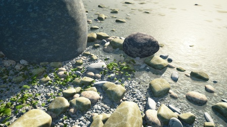 An image of a nice pebbles in water background photo