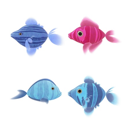 An image of four nice fish illustrations illustration